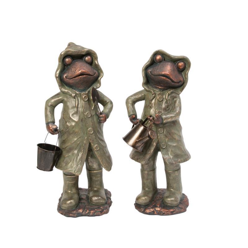 Gerson Assorted Magnesium Garden Frog Figurines 2-pack