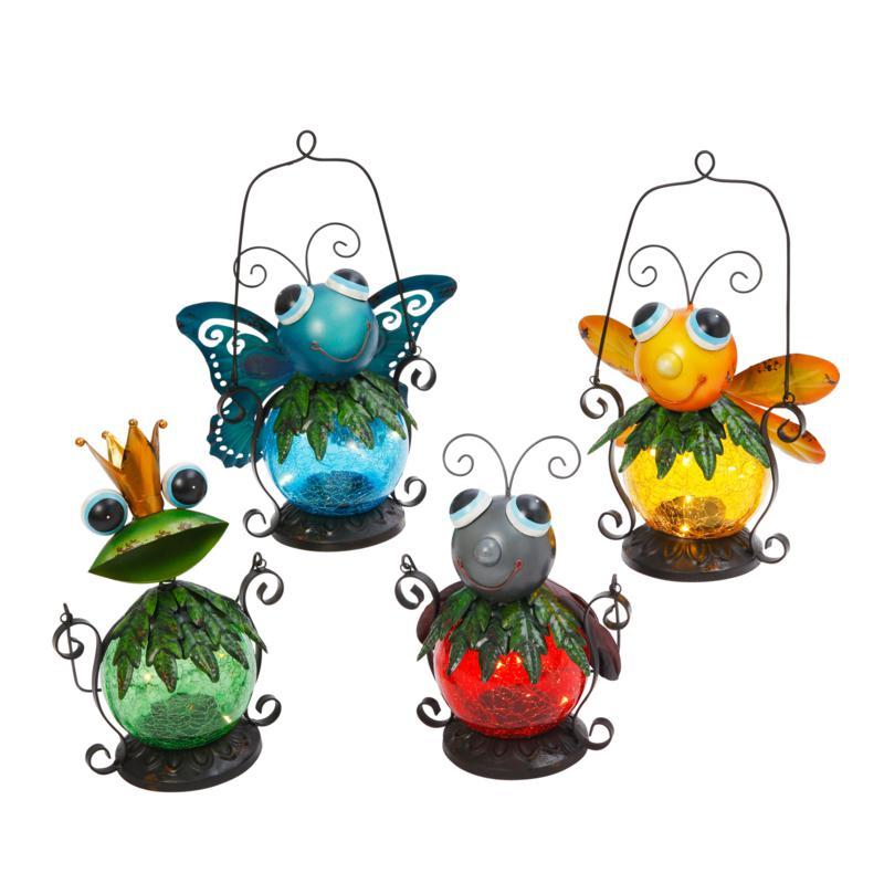 Gerson Assorted Metal and Glass Solar Garden Critter Lanterns 4-pack