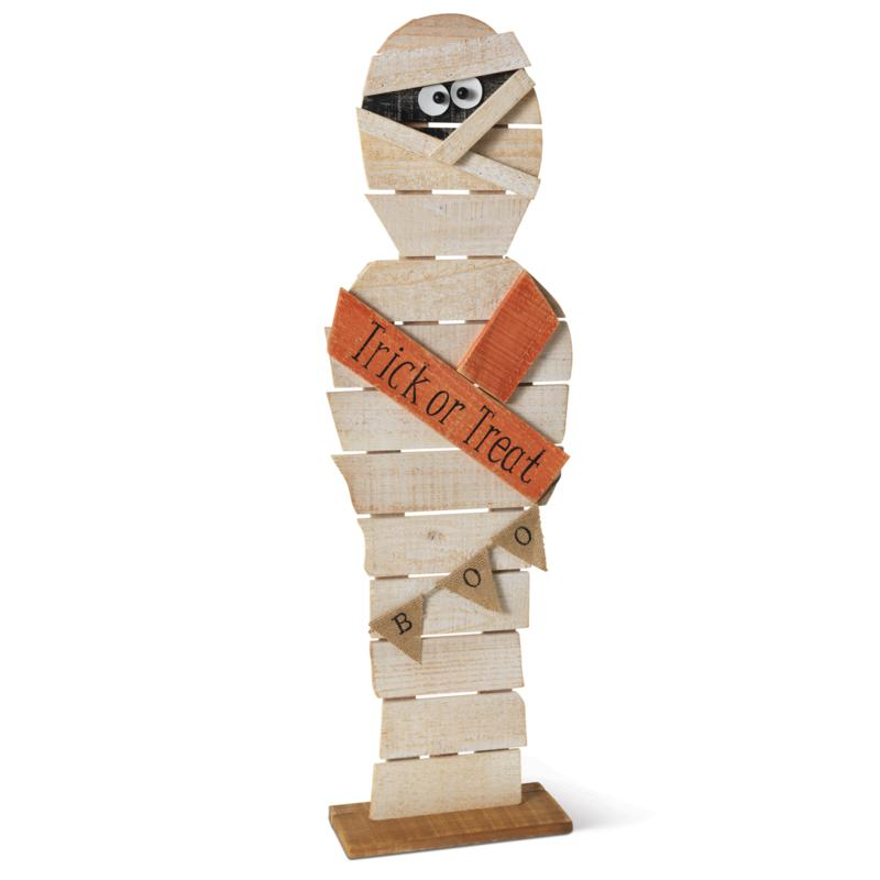 "Gerson Company 32""H Painted Rustic Wood Halloween Mummy Figurine"