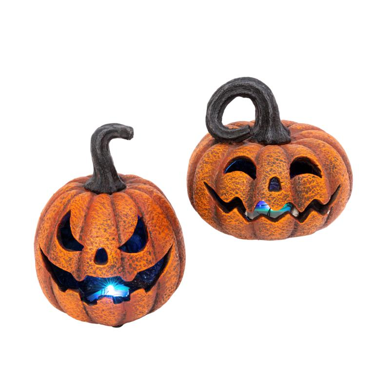 Gerson Company Delightfully Spooky Lighted Jack-O-Lanterns 2-pack