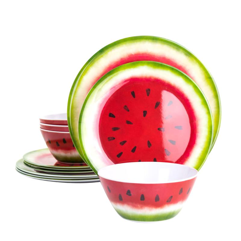 Gibson Home Melony 12-Pc Round Melamine Dinnerware Set