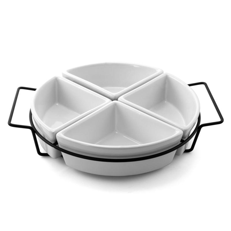 Gibson Splendid Grace Four Section Tray Set with Metal Rack in White