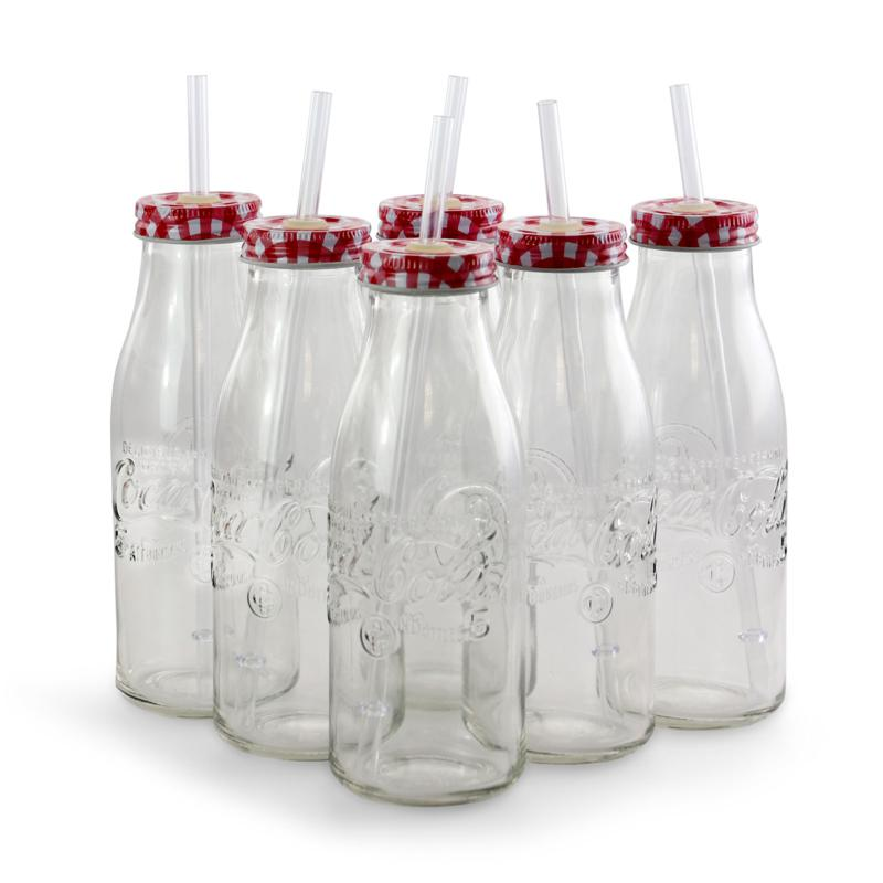 Gibson's Coca-Cola Good Old Times 6 Piece 15 oz Lid and Straw Bottl...