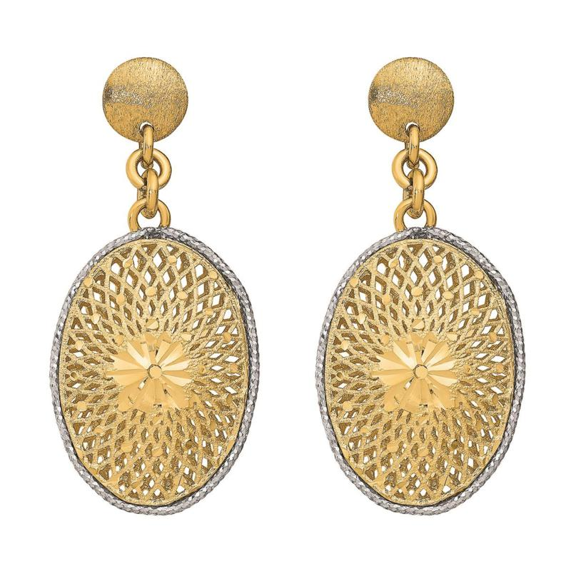 Golden Treasures 14K Diamond-Cut Filigree Oval Dangle Earrings
