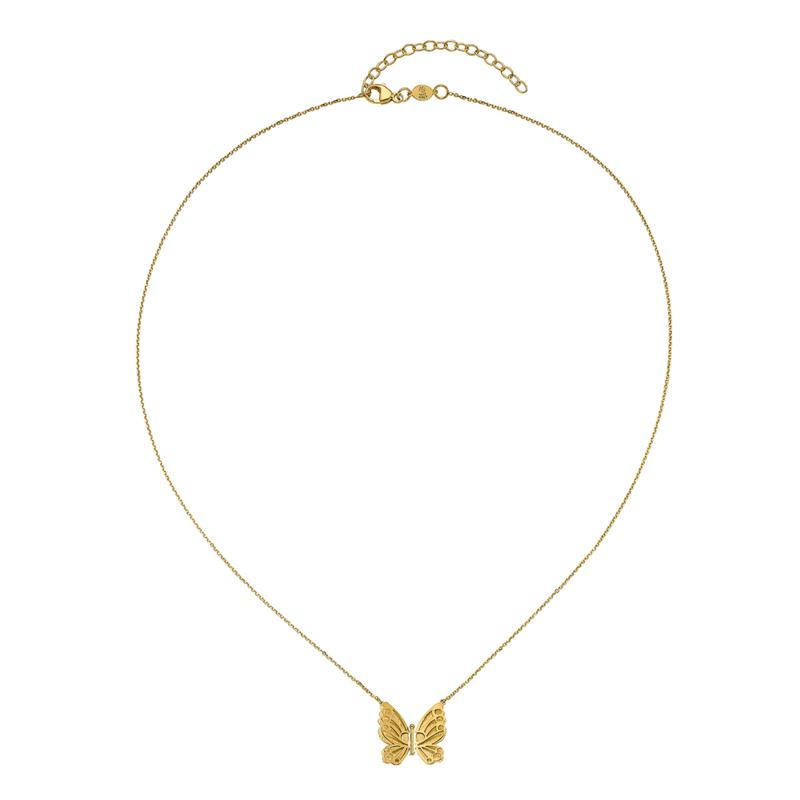 Golden Treasures 14K Gold Polished and Brushed Butterfly Necklace