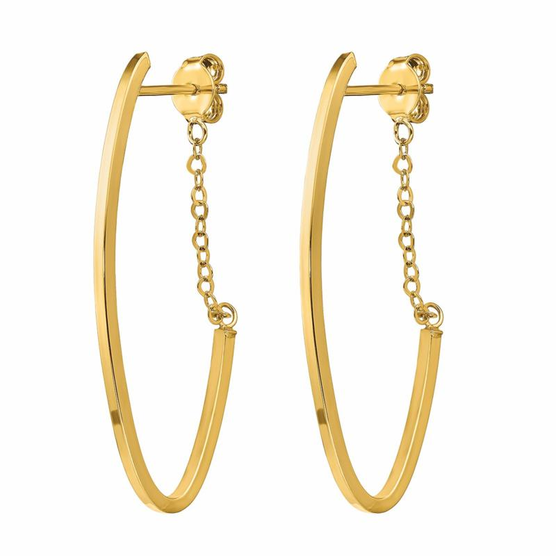 Golden Treasures 14K Gold Polished Hoop and Chain Earrings