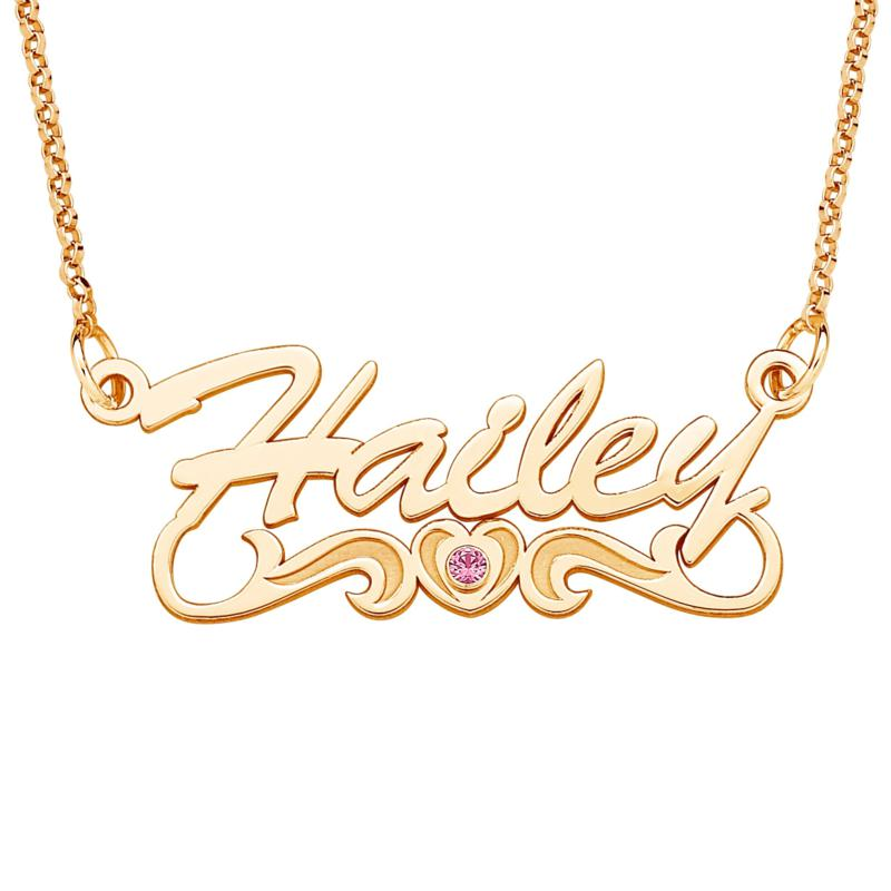 Goldtone Silver Name Necklace with Birthstone-Color CZ