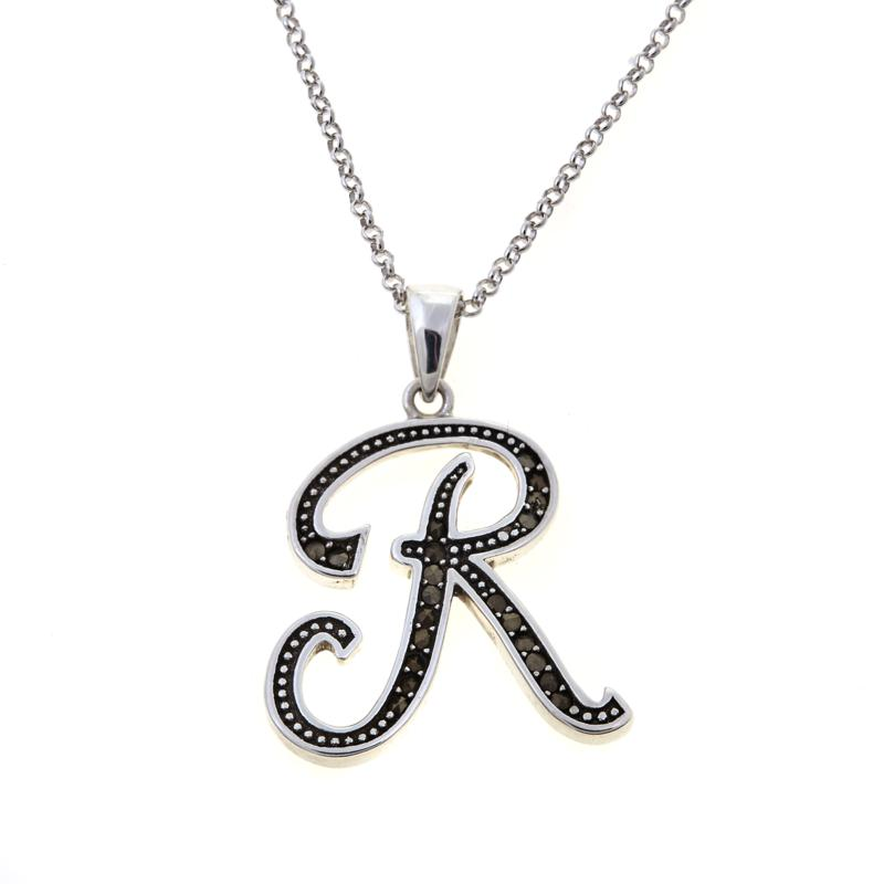 """Gray Marcasite Sterling Silver """"R"""" Initial Pendant"""
