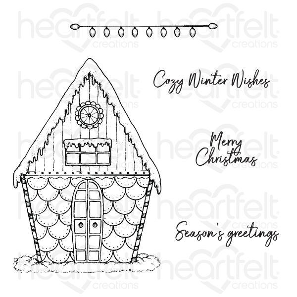 Heartfelt Creations Candy Cane Cottage Cling Stamp Set