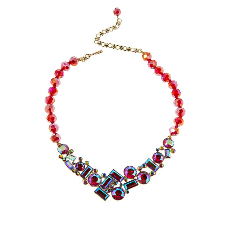 "Heidi Daus ""Captivating Chaos"" 17"" Siam Red AB Beaded Necklace"