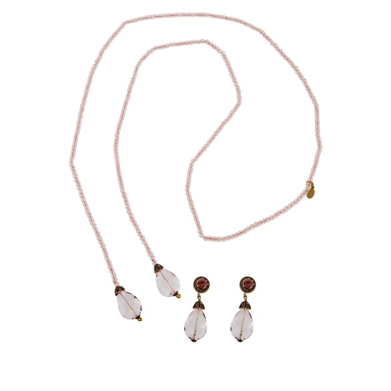 """Heidi Daus """"Lux Be a Lady"""" Lariat Necklace and Earrings Set"""
