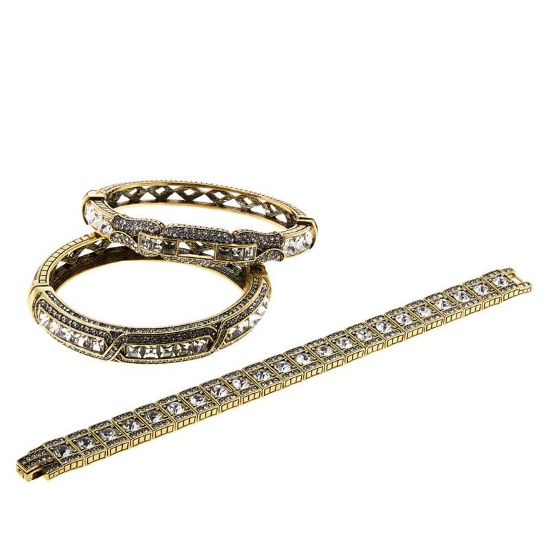 "Heidi Daus ""My Inheritance"" Set of 3 Crystal Bangle Bracelets"