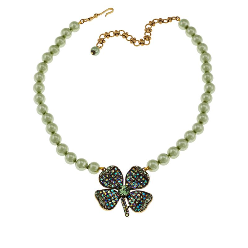 """Heidi Daus """"St. Sparkle"""" Four Leaf Clover Beaded Necklace"""