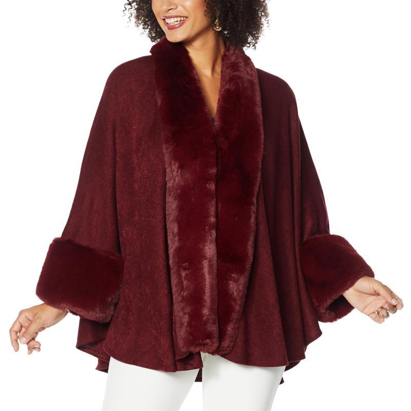 Heidi Daus Sweater Knit Topper with Faux Fur Trim