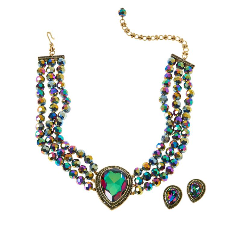 "Heidi Daus ""Tailored Teardrop"" Necklace and Earrings Set"