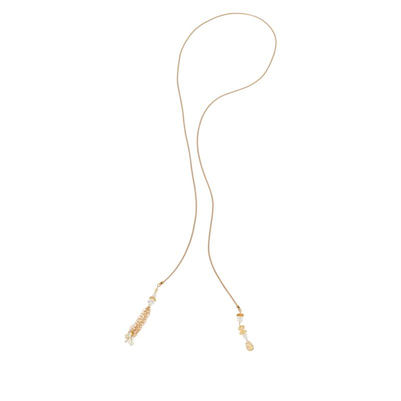 "Herkimer Mines ""Diamond"" Quartz and Gemstone Leather Lariat Necklace"