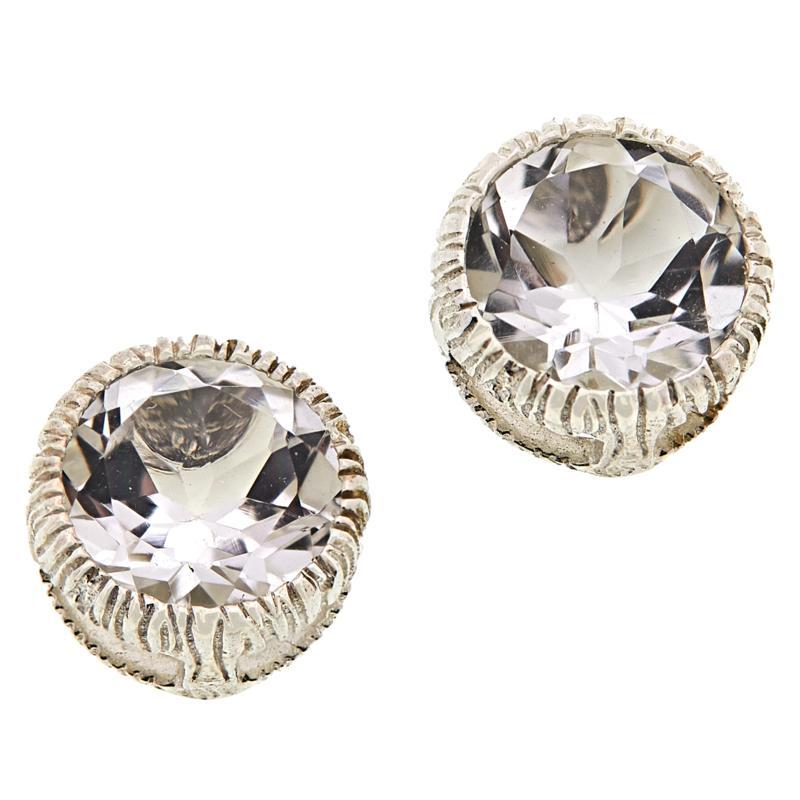 "Herkimer Mines Sterling Silver ""Diamond"" Quartz Halo Stud Earrings"
