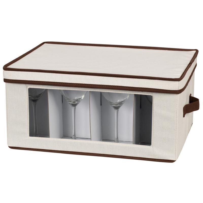 Household Essentials Canvas Goblet Stemware Storage