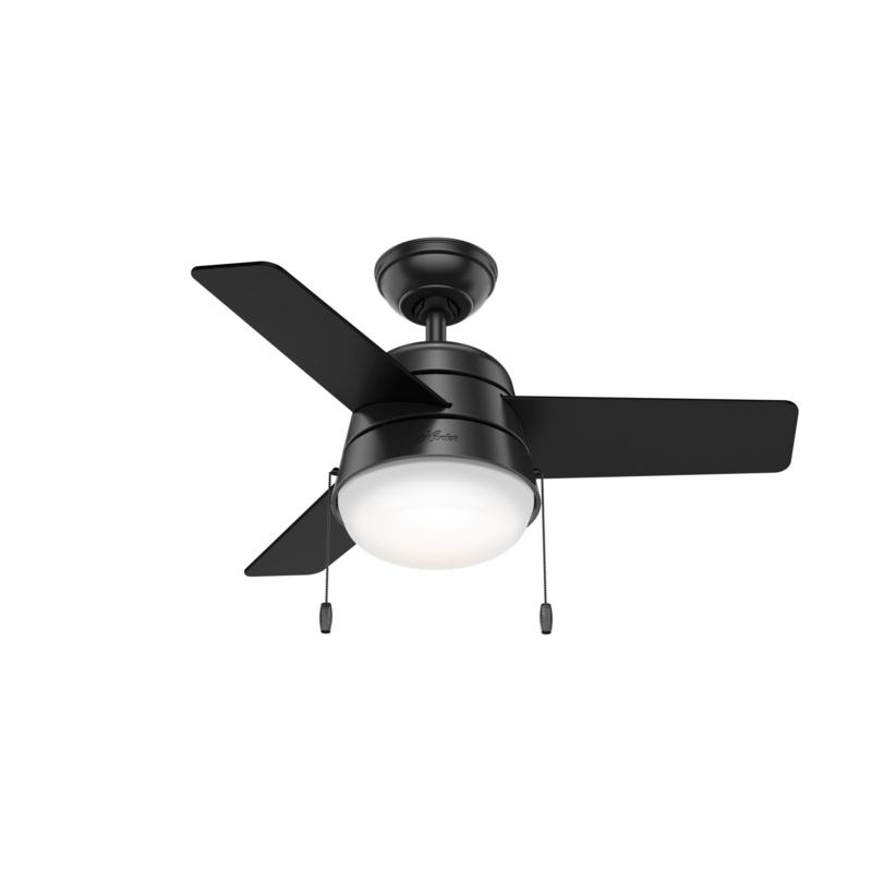 "Hunter 36"" Aker Matte Black Ceiling Fan with LED Light and Pull Chain"