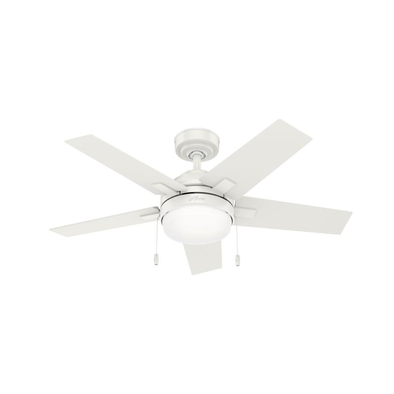 "Hunter 44"" Bartlett Fresh White Ceiling Fan w Light Kit & Pull Chain"