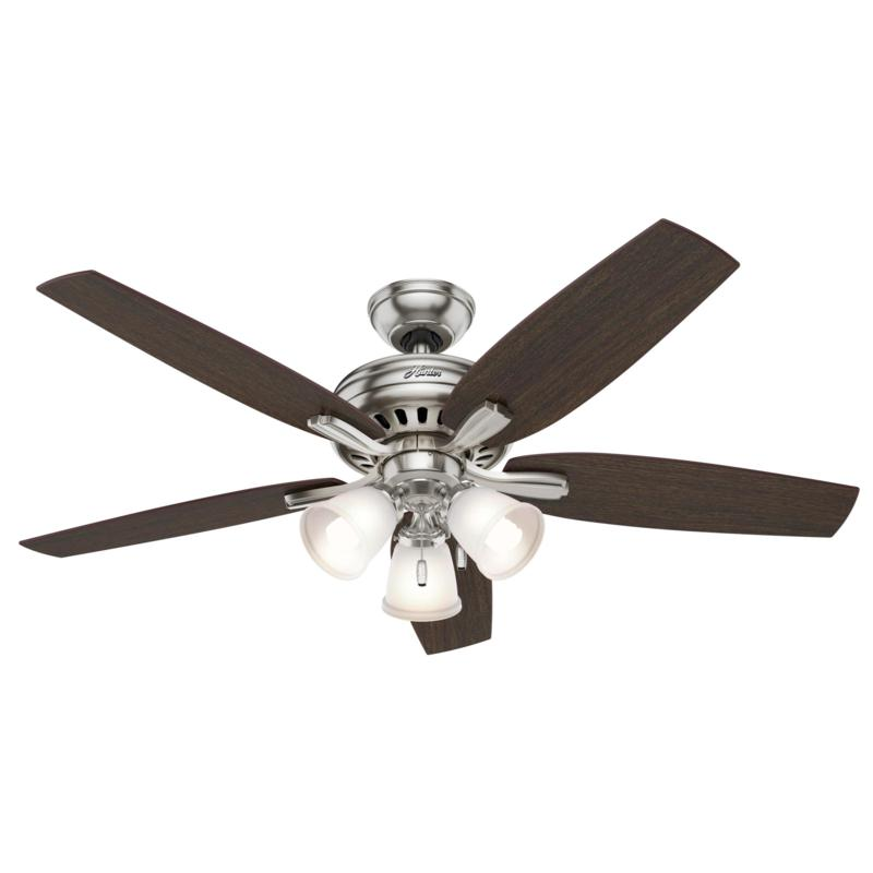 "Hunter 52"" Newsome Nickel and Walnut Fan w Light Kit and Pull Chain"