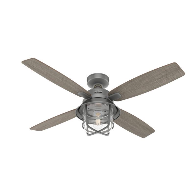 "Hunter 52"" Port Royale Matte Silver Damp Rated Remote Ceiling Fan"