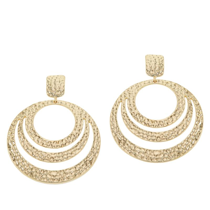 IMAN Boho Chic Goldtone Hammered Circle Earrings