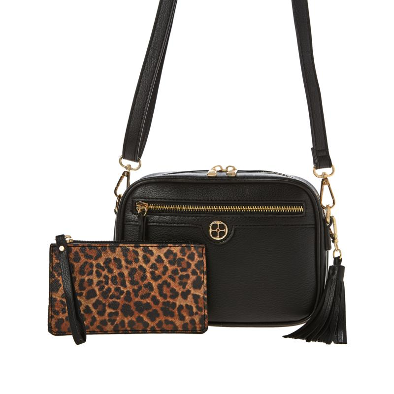 IMAN Global Chic Crossbody with Wristlet and Removable Tassel
