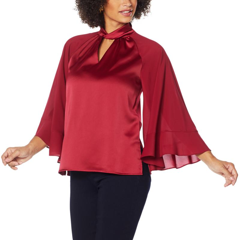 IMAN Global Chic Mock Neck 3/4 Ruffle Sleeve Woven Top