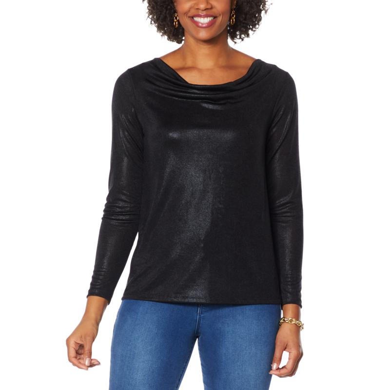 IMAN Global Chic Printed Foil Jersey Cowl-Neck Top