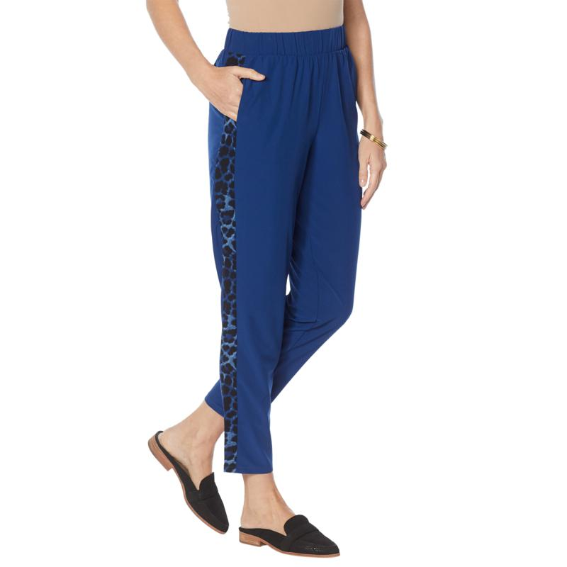 IMAN Global Chic Stretch Woven Side Stripe Ankle Pant