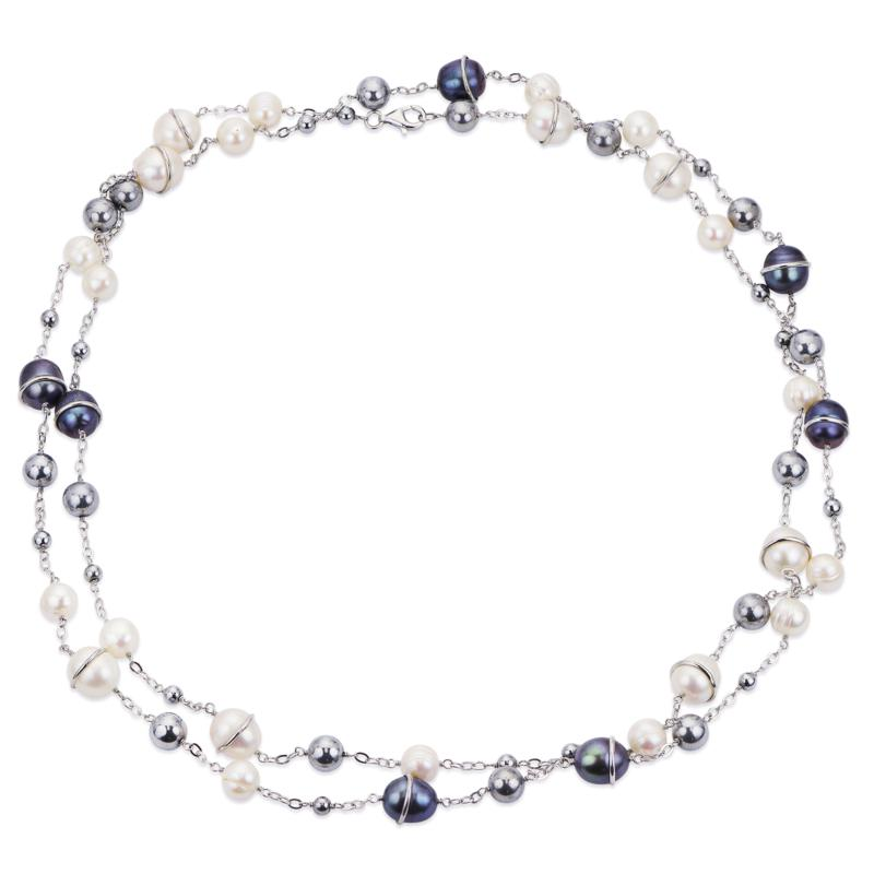 """Imperial Pearls 48"""" Cultured Pearl and Hematite Beaded Link Necklace"""