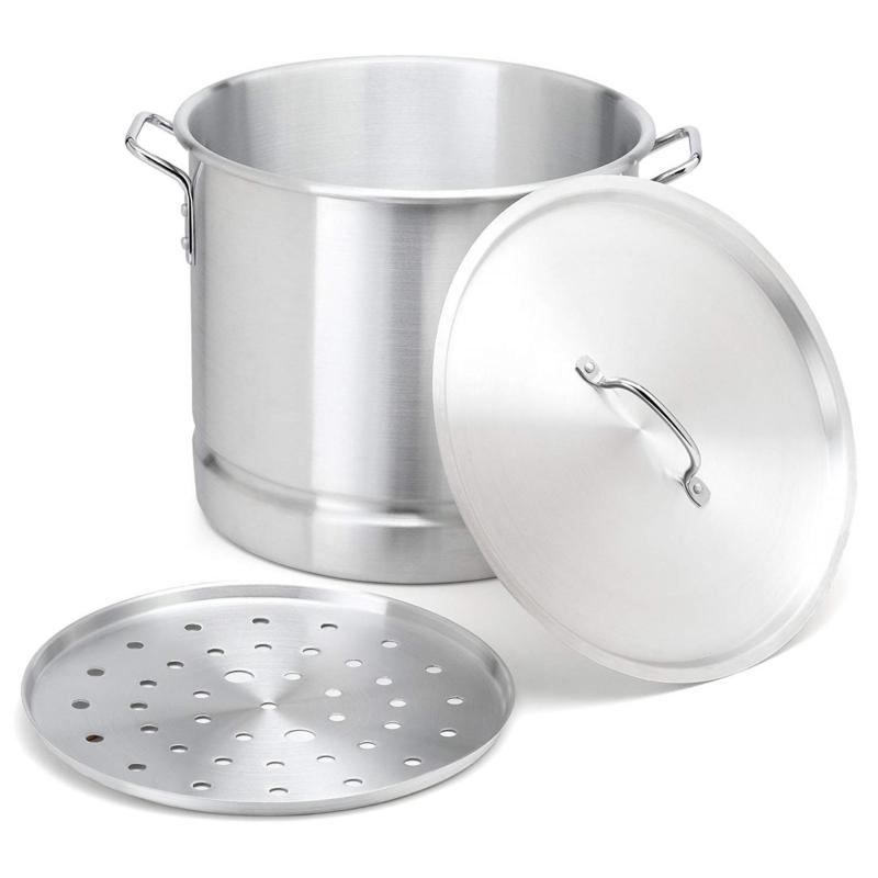 IMUSA 32-Quart Tamale and Seafood Steamer with Glass Lid - Silver