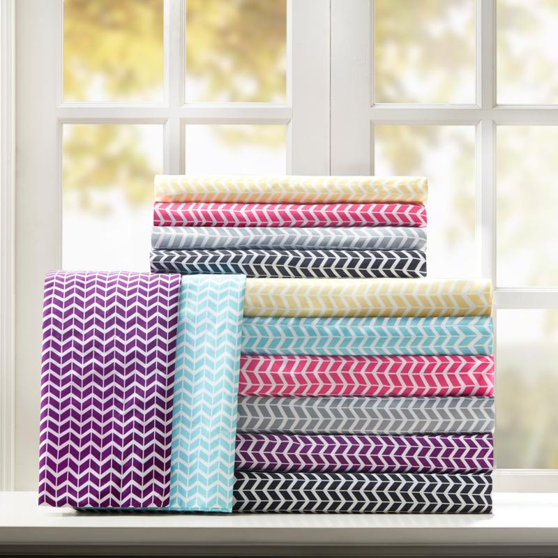 Intelligent Design  Chevron Printed Microfiber Sheet Set - Aqua/Twin
