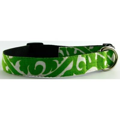 Isabella Cane Buddha Cotton Dog Collar - Green Medium
