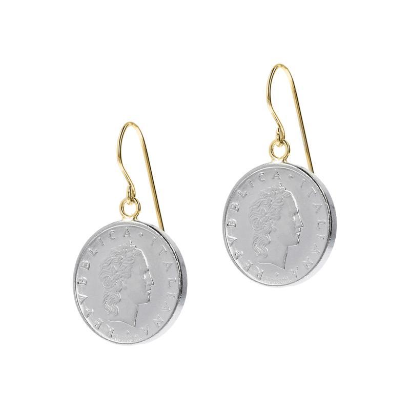 Italian Gold 50 Lira Coin 14K  Gold Dangle Earrings
