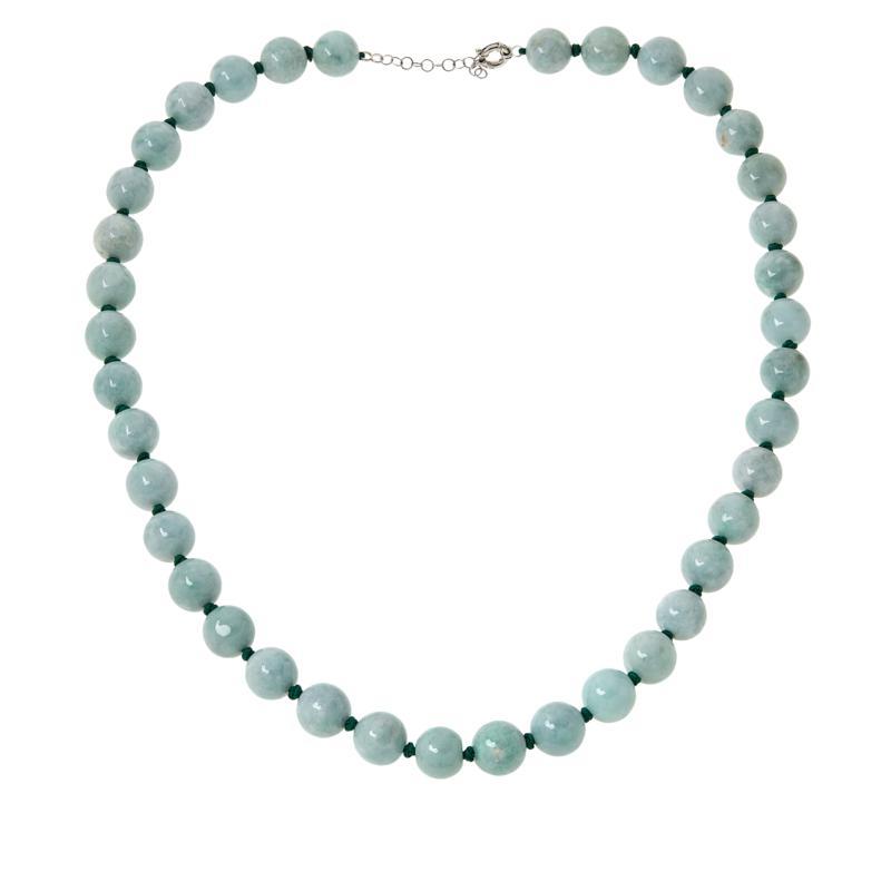 "Jade of Yesteryear 32"" Sterling Silver Green Jade Beaded Necklace"