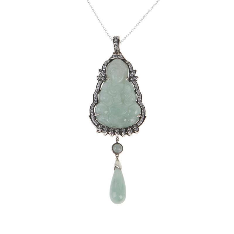 """Jade of Yesteryear Carved Jade """"Kwan Yin"""" Pendant with Chain"""