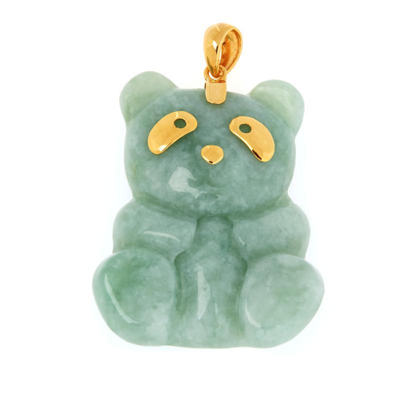 Jade of Yesteryear Gold-Plated Sterling Silver Jade Panda Pendant
