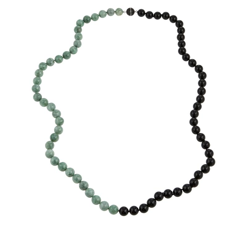 Jade of Yesteryear Green Jade and Black Onyx Beaded Necklace