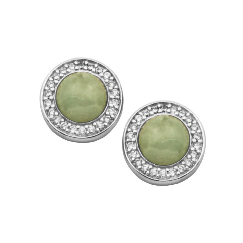 Jade of Yesteryear Green Jade and Cubic Zirconia Halo Stud Earrings