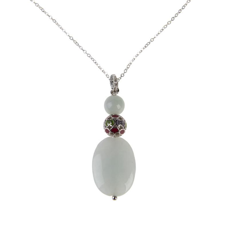 Jade of Yesteryear Jadeite and Gemstone Pendant with Chain