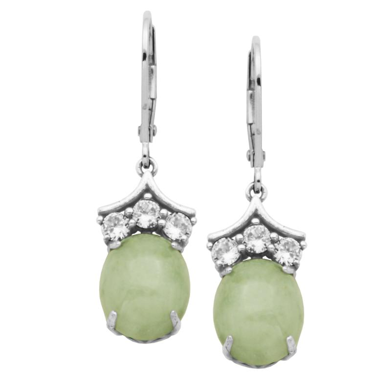 Jade of Yesteryear Oval Green Jade and Cubic Zirconia Drop Earrings