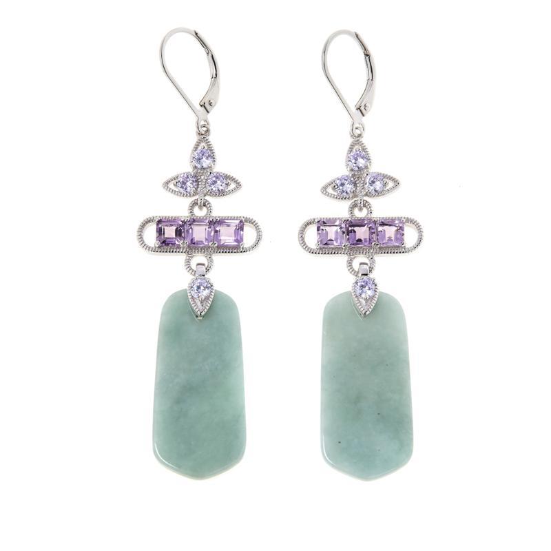 Jade of Yesteryear Sterling Silver Jade, Amethyst and CZ Earrings