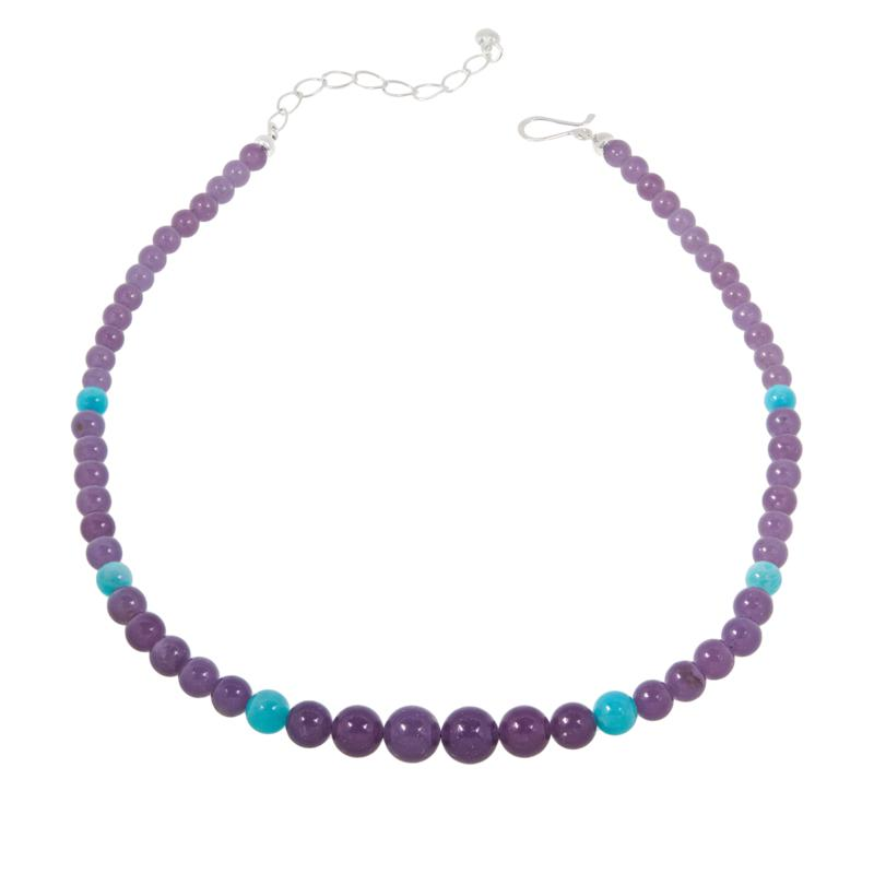 """Jay King 18"""" Sterling Silver Lepidolite and Amazonite Beaded Necklace"""
