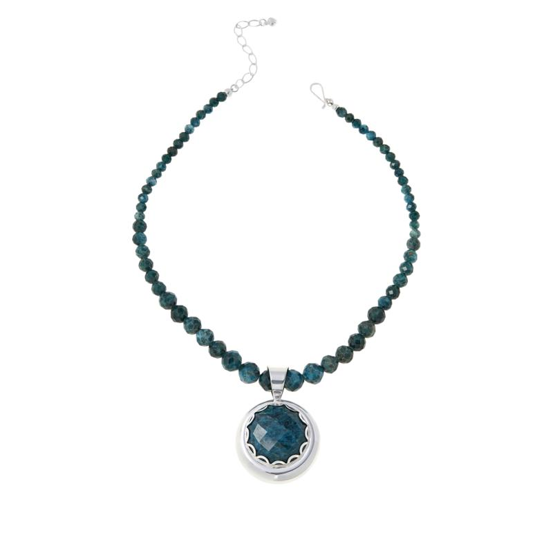 """Jay King 18"""" Teal Apatite Pendant with Beaded Necklace"""