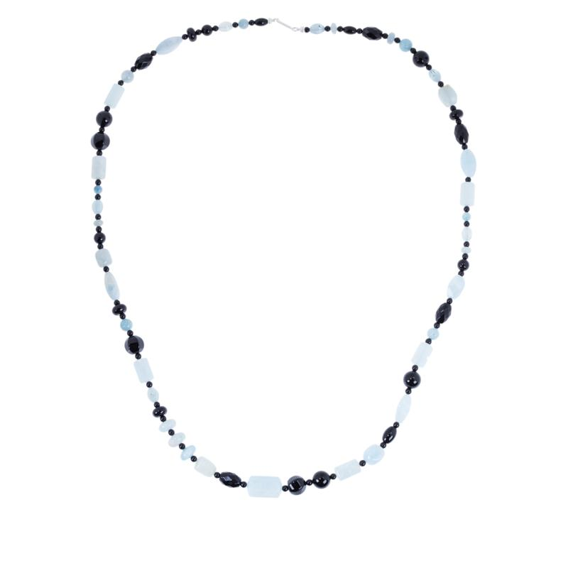 "Jay King 36"" Aquamarine and Black Chalcedony Bead Necklace"