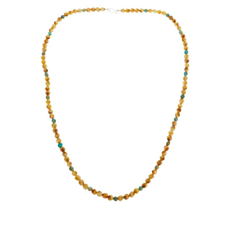 """Jay King 36"""" Blonde Tiger's Eye and Andean Turquoise Bead Necklace"""