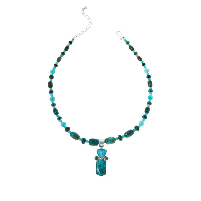 Jay King Amazonite and Parrot Wing Stone Pendant with Necklace