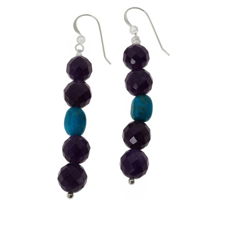 Jay King Amethyst and Andean Blue Turquoise Bead Drop Earrings